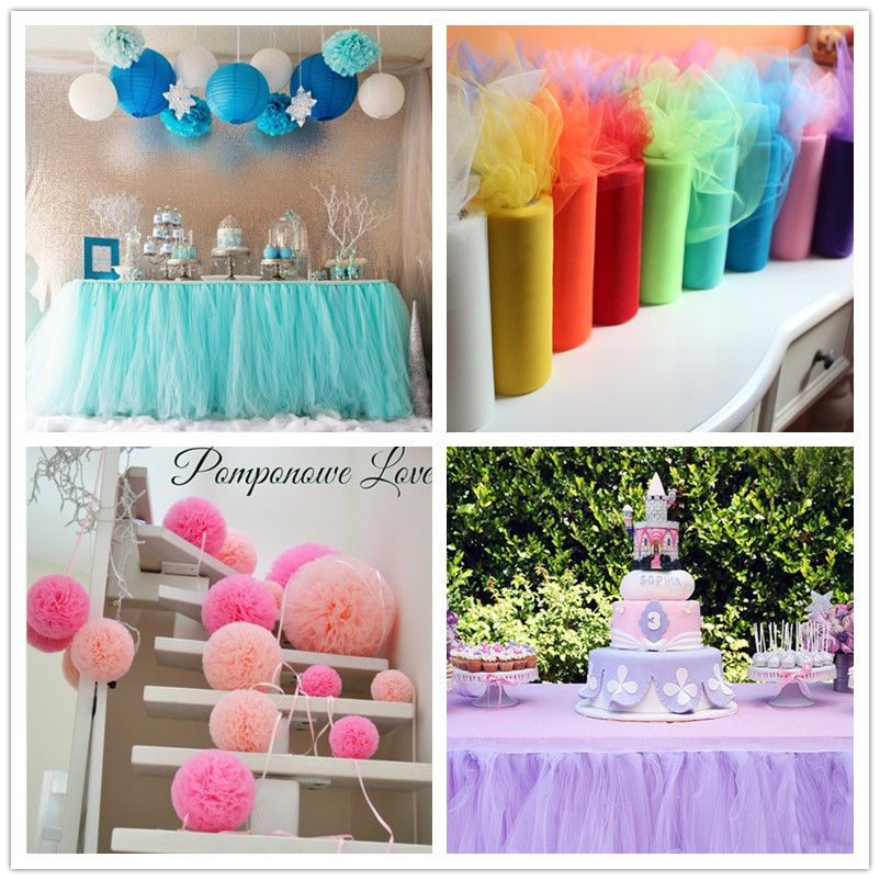 22mX15cm Colorful Tissue Tulle Roll Spool Craft Wedding Party Decoration Organza Sheer Gauze Element Table Runner Top quality(China (Mainland))