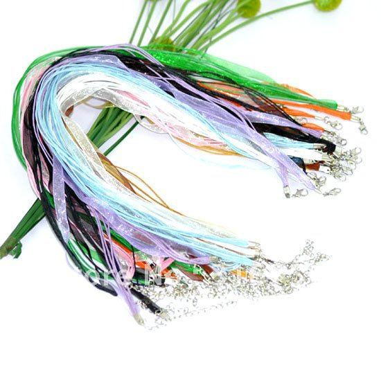 "Wholesale 200pcs Mixed Lobster Clasp Organza Waxen Cord Necklace 17""(w00844)(China (Mainland))"