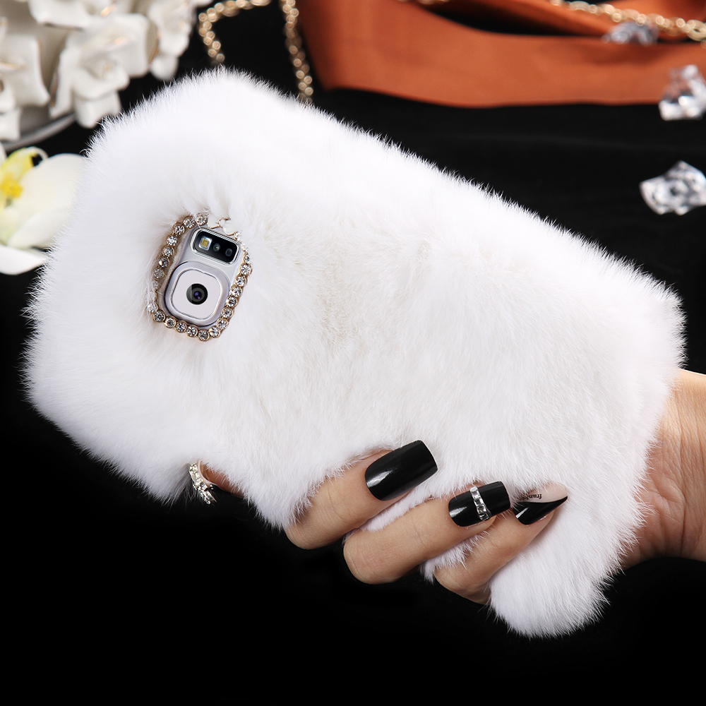 S6 Elegant 100% Real Rabbit Fur Bling Diamond Case for iSamsung Galaxy S6 G9200 Luxury Smooth Touch Women girl Phone Cover Capa(China (Mainland))