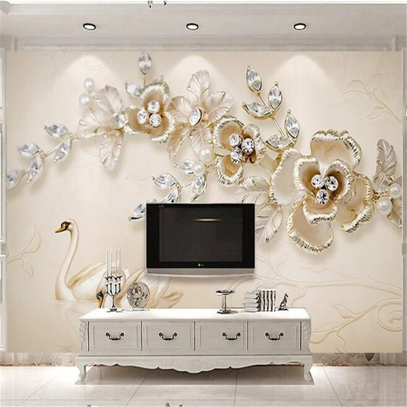 beibehang Custom photo wallpaper wall stickers copyright picture 3d stereo luxury european swan jewelery flowers TV backdrop(China (Mainland))