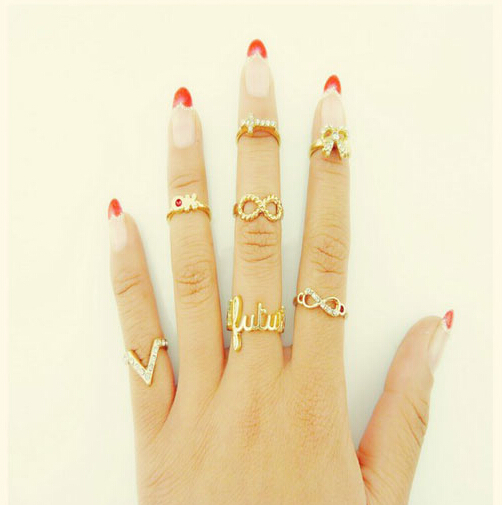 2015 New Fashion Kastet Bague anillos Mujer Jewelry 7pcs Infinity Gold Mid Nail Knuckle Finger Rings for Women Aneis Femininos(China (Mainland))