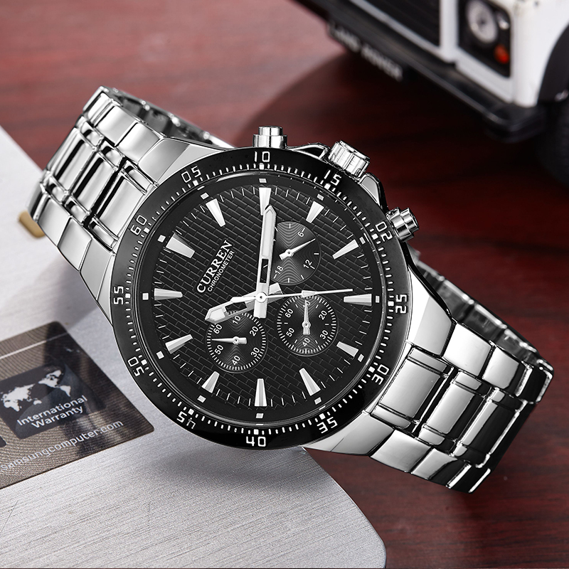 curren 8063 men watch blackcat stainless steel quartz analog male clock curren fashion wrist watch band men's hot New with tags(China (Mainland))