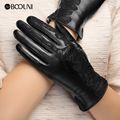 Genuine Leather Gloves Women Fashion Black Thicken Plus Velvet Lace Embroidery Real Sheepskin Winter Driving Glove