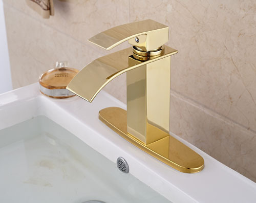 Фотография NEW  Gold Brass Waterfall Spout Single Lever Batrhroom Sink Basin Faucet  Mixer Tap  Deck Mounted