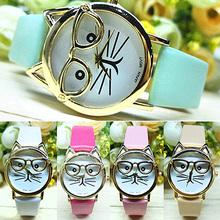 Fashion Unisex New Wristwatches Women s Men s Cute Glasses Cat Case Faux Leather Analog Quartz