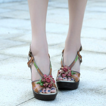 70% Off Discount Women Summer Shoes High Heel Shoes Platform Wedge Sandals Genuine Leather Vintage Style For Women(China (Mainland))