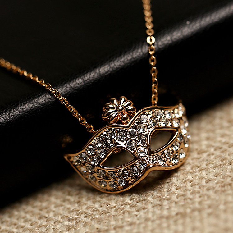 Bohemia Elegant flower mask Pendant Necklace Gold silver Chain Austrian Crystal Women - Sycamore Trade store