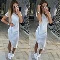 2016 Women Summer OL Style Maxi Dress Striped Casual Bud Dresses Short O Neck Robe Femme
