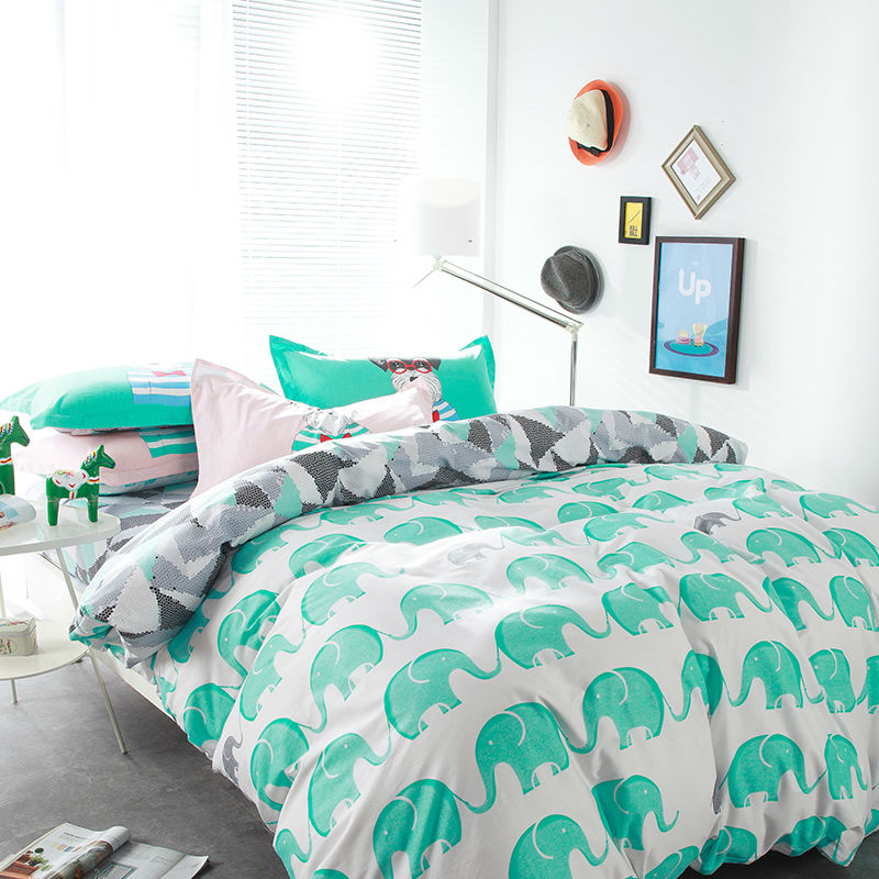 Fresh green elephant white linens 4pcs bedding sets high end cotton twin/single/double/queen size duvet cover set sheets sets(China (Mainland))