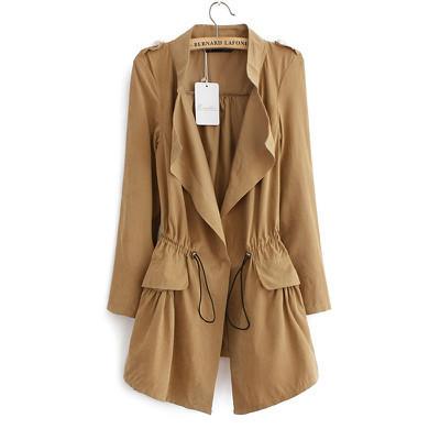 TF06 Мода 2016 Корейский стиль Офис элегантный хаки шнурок Талии Длинный плащ для ...