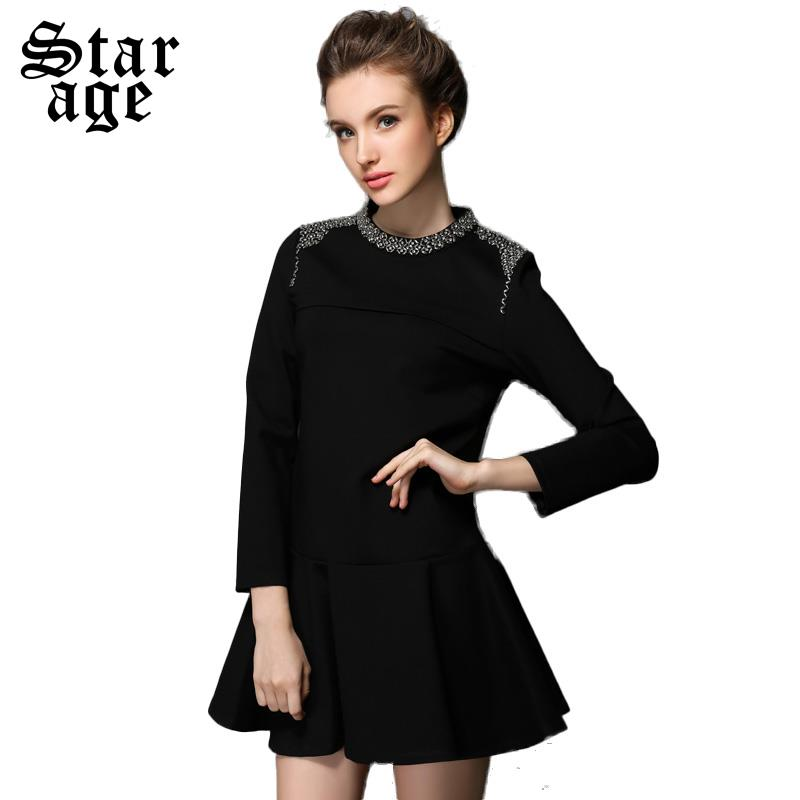 L-5XL Brand Women Punk Style Diamond Beaded Stand Collar Long Sleeve A-Line Dresses Plus Size Autumn Winter Clothes verano G312(China (Mainland))