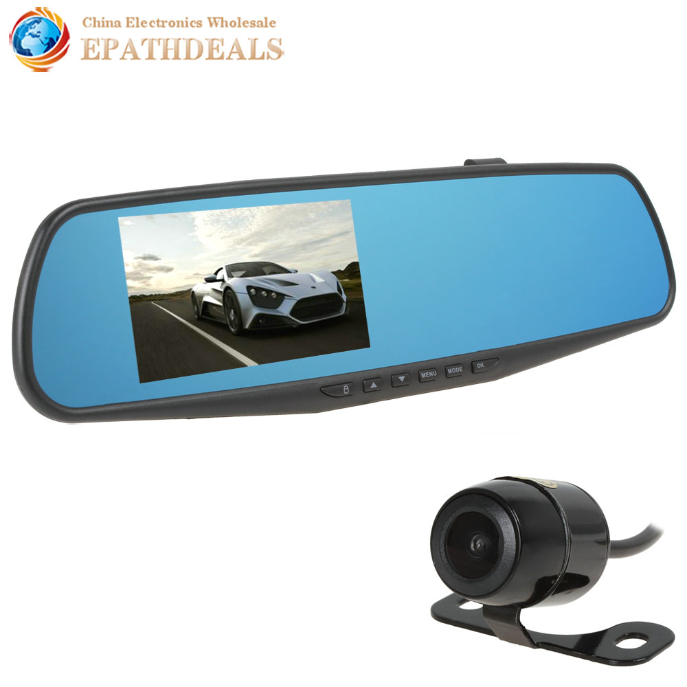 4.3 Inch Digital Zoom 1080P Full HD Car Mirror DVR Dual Camera Lens Night Vision Wide Angle Auto Vehicle Traveling Data Recorder<br><br>Aliexpress