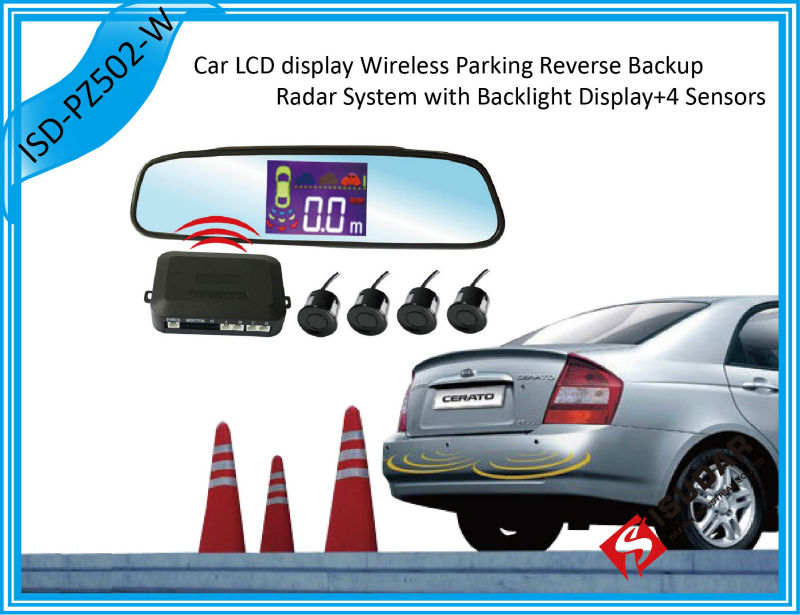 LCD Parking Sensor & Rearview Mirror 4 Parking Sensors 7 Colors Car Backup Wireless Reverse Radar System Free Shipping(China (Mainland))