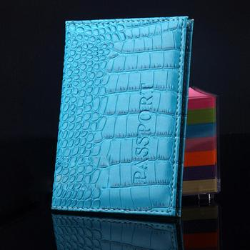 Blue Passport Cover PU Leather 14.2*9.8cm ID Holders Documents Bag Alligator Wallet Embossing Passport Holder Protector