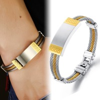 Three Layers Full Stainless Steel Man Bangles Silver/Gold The Great Wall Engraving Cool Vintage Jewelry For Men TY955