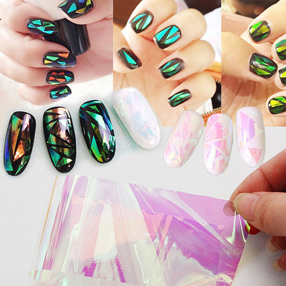 5 Colors Nail Stickers Broken Glass Pieces Mirror DIY Nail Art Stickers Women's Fashion Nail Art Design Set Decal Stencil Foil(China (Mainland))