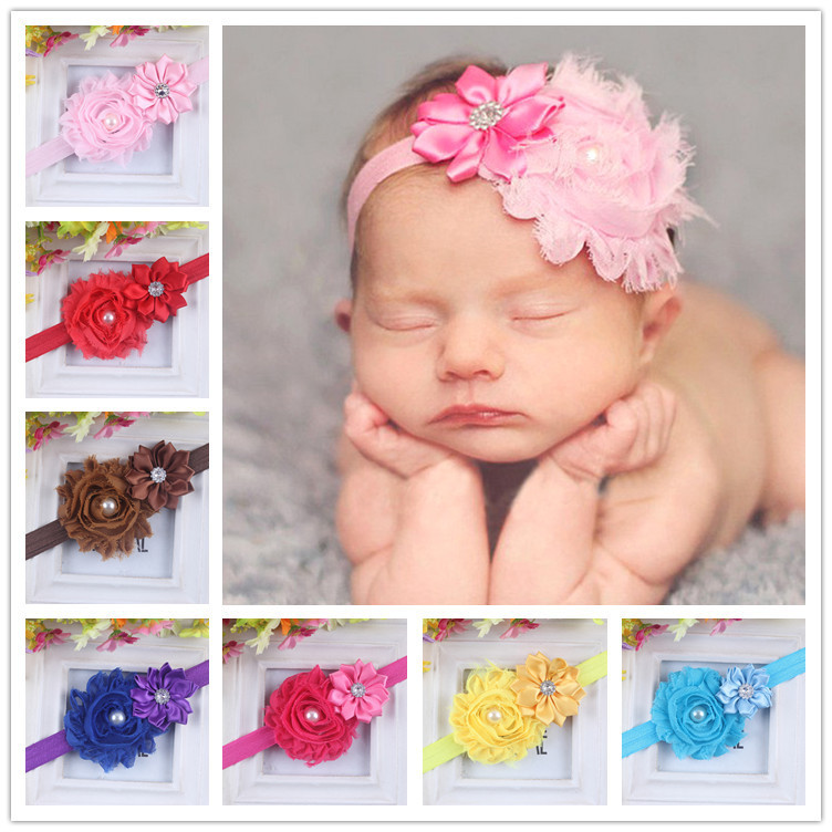 13 Colors / lot Baby girl headbands Flowers Rhinestone Newborn Headband Elastic Children's Infant Hairband Hair Accessories(China (Mainland))