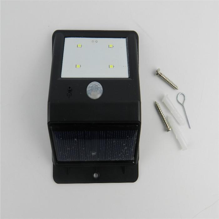 2Pcs/lot New Outdoor PIR Motion Sensor Security Lights Lamps Bright 4 LED Solar Powered Night Lamp(China (Mainland))