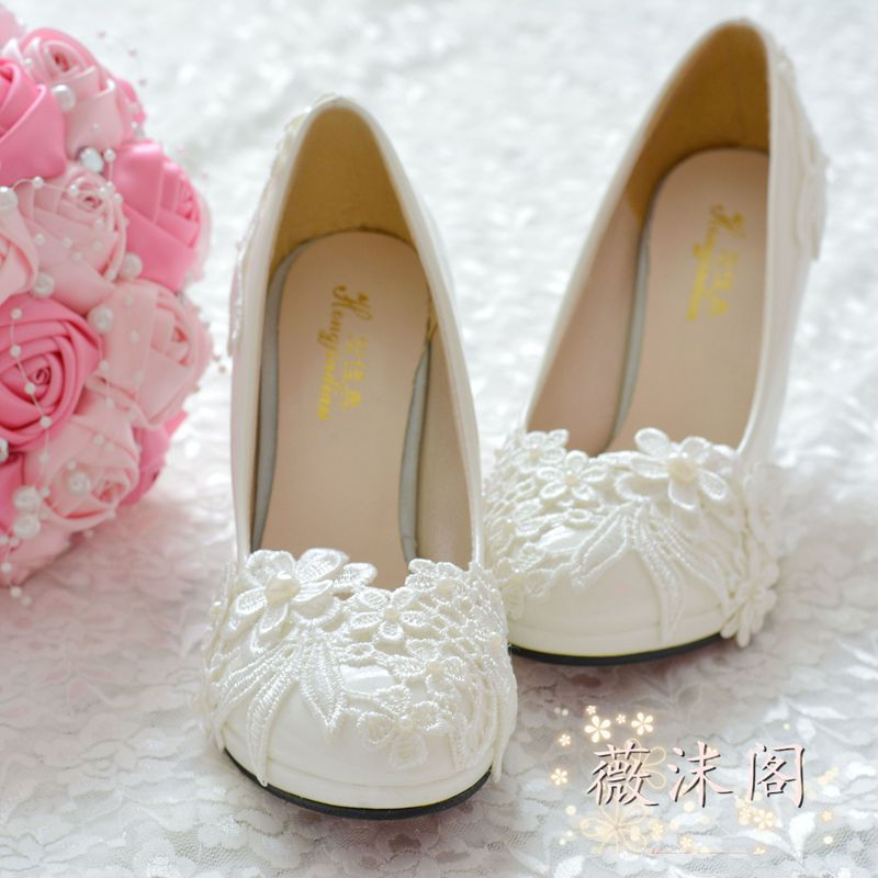 Handmade wedding shoes white pearl high-heeled lace embroidered bridesmaid shoes formal dress pumps 8.5cm high large size 41-42(China (Mainland))