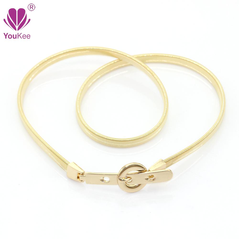 Full Rhinestone Elastic Belt For Women Golden Plated Ladies Metal Waist Belt Stretch Waistband font b