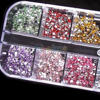 500pcs 2mm Round Rhinestones 12 Colors Hard Case Nail Art Tips Decoration Created Gemstones Acrylic UV Gel 06CN