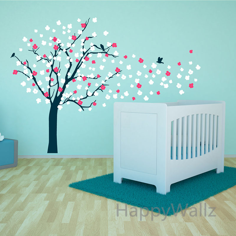 Large tree wall stickers colorful leaves tree wall decal for Diy tree mural nursery