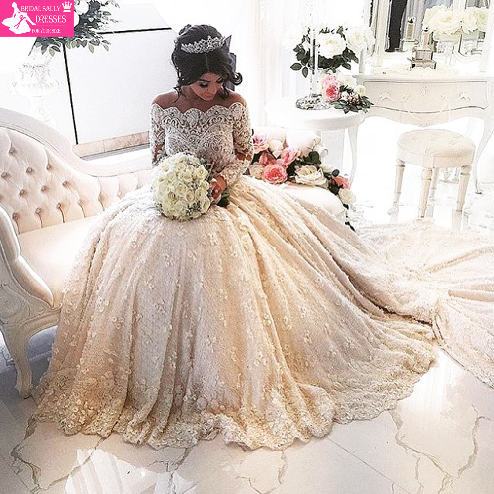 Luxury Beading Lace Wedding Dresses Long Sleeves Muslim Wedding Gowns Shoulder MTOB1651