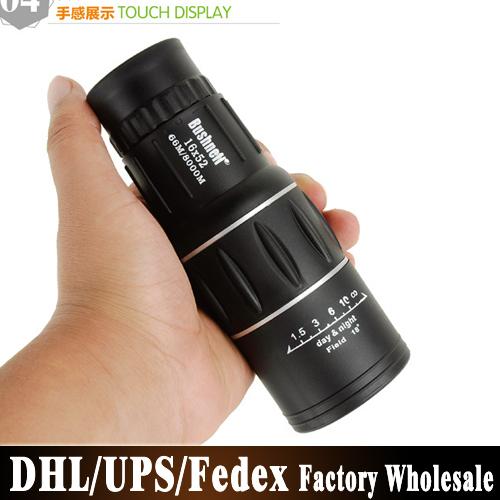DHL UPS Fedex 100pcs/lot 16X52 HD Green Film Upper And Lower Dual Focusing Single Tube Telescope(China (Mainland))