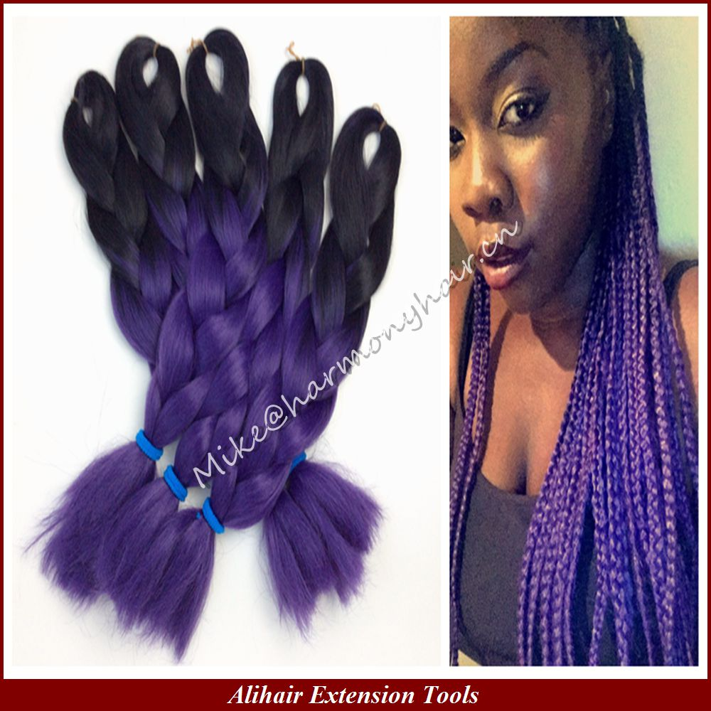"FREE Shipping 10pieces/lot 20"" 100g Black/dark purple Ombre Two tone Colored 100% Kanekalon Jumbo Box Braiding Synthetic Hair(China (Mainland))"