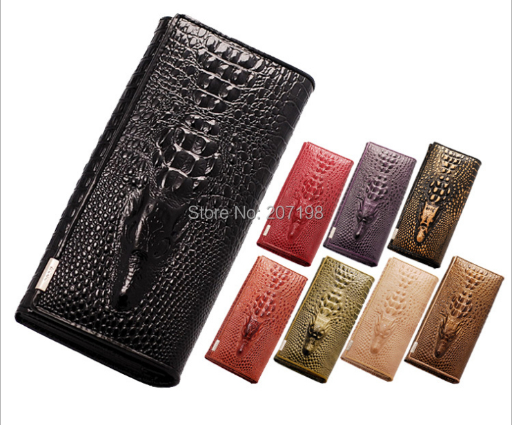 2015 Wholesale New Female Genuine Leather Purse for Women 3D Crocodile Long Coin Purse Leather Wallets Ladies Handbags 10 color(China (Mainland))