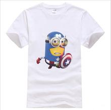 American Captain Casual Tshirt Men Minions 100% Cotton Short Sleeve Round neck Loose Tops Tees Summer Man's T shirt TH0137