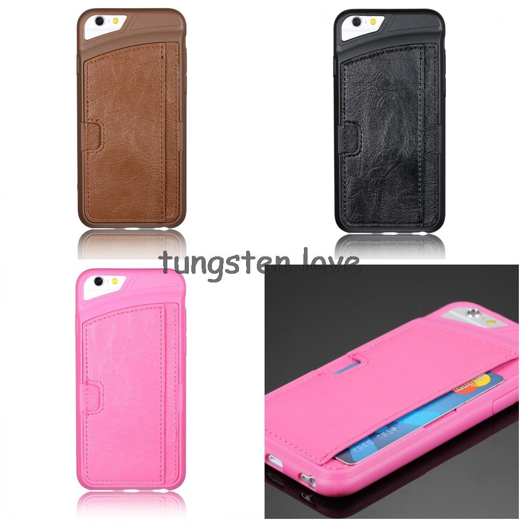 High Quality PU Leather Cell Phone Case For Apple iPhone 6 4.7 inch Ultra Thin Original Protective Back Cover with Card Holder(China (Mainland))