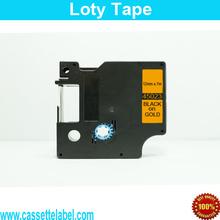 dymo 5pcs/lot 12mm*7m 45023 black on gold compatible dymo label maker dymo D1 Label Tape printer ribbons cp company enduro