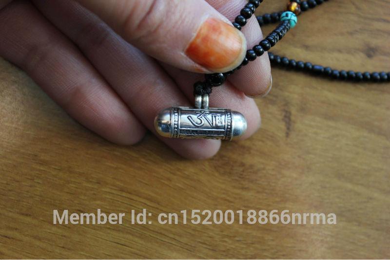 SL000 Nepalese Tibetan 925 sterling silver Prayer box Nepal lovely cylinder amulets,OM & Buddha Eye GAU pendant(China (Mainland))