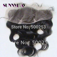 "Natural Black Brazilian Virgin Hair Lace Frontal Fashion Wave (4""x13"")  1B Colro With Baby Hair"