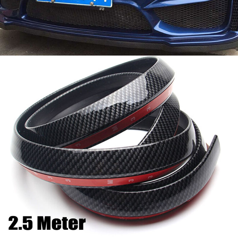2.5M Carbon Fiber Car Styling Strips Sticker Body Kit Wrap Protector Protcetion Front Bumper Scratches Guard Lip Rubber Clips(China (Mainland))