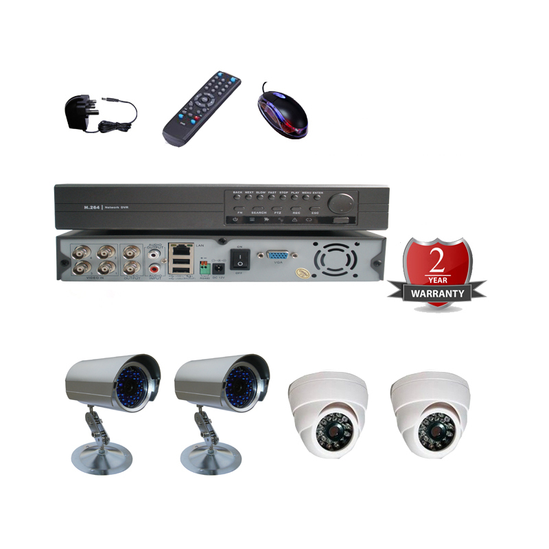 4CH Channel CCTV DVR Kit Video Recorder Security System Outdoor Dome Camera with Night Vision(China (Mainland))