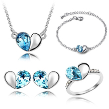 Wholesale Crystal Jewelry Sets Cute Heart Pendants Necklaces Stud Earring, Ring And Bracelet Bangles Silver Plated For Women(China (Mainland))