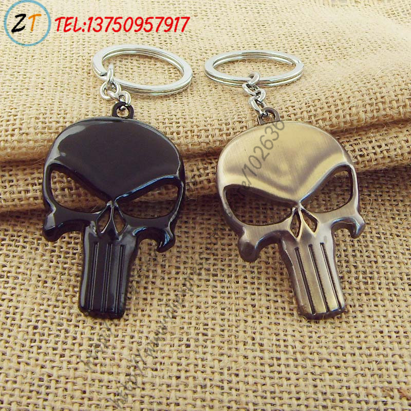 The Punisher Dark Knight Black Superhero Skull Keychain Pendant Key Ring Wholesale <br><br>Aliexpress