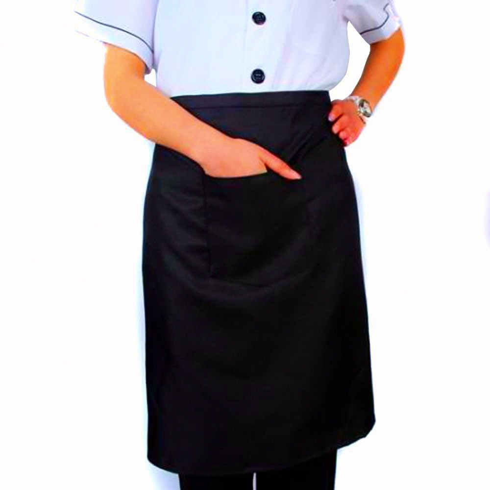 1pcs Plain Black Chefs Restaurant Waist Apron with Pocket