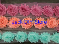 "Free Shipping 10yards/lot 42colors  2.5""shabby chiffon rose trim,chiffon frayed flowers,hair accessories YOU PICK 10 COLORS"