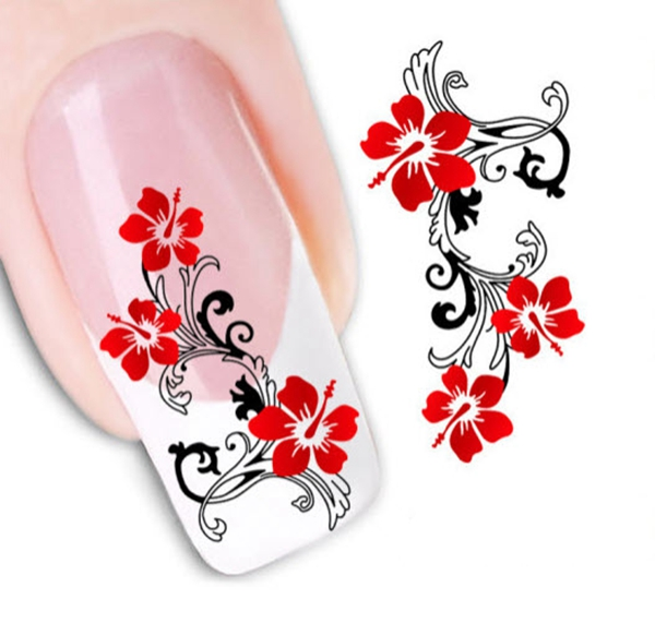1 Sheet Trendy Red Flower Nail Art Water Transfer Decals Stickers Nail Sticker Decoration Tools XF1441(China (Mainland))