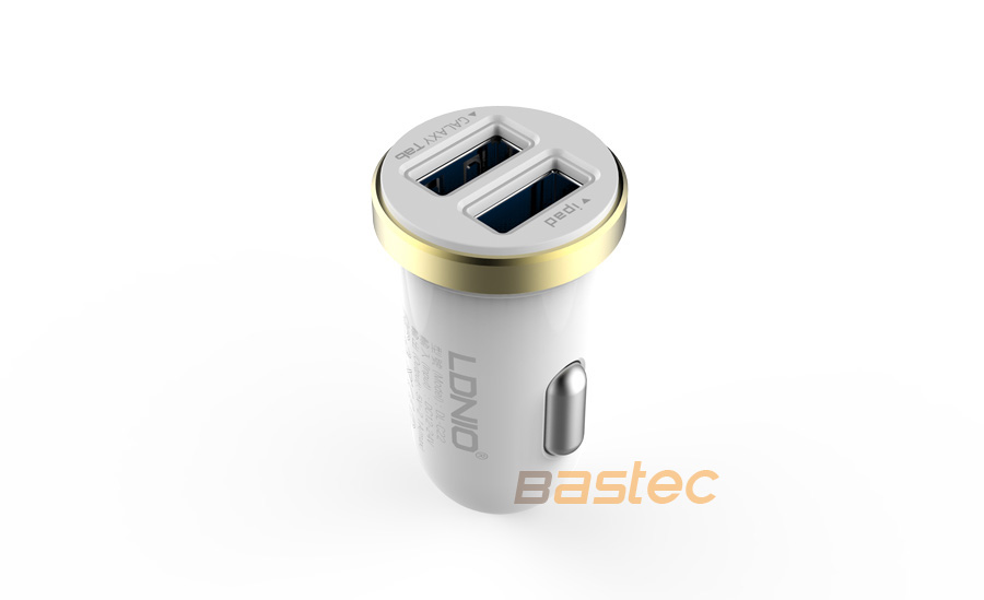 Ldnio Original 5V 2A 2 Port Mini USB Car Charger Dual Port Auto Adapter with USB Cable for iPhone 7 6 Samsung S7 S6 Xiaomi HTC