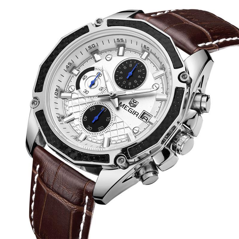 2016 новый Megir хронограф 6 руки кожа бизнес часы Montre Homme известный бренд часы мужчины часы люксовый бренд Megir 2015