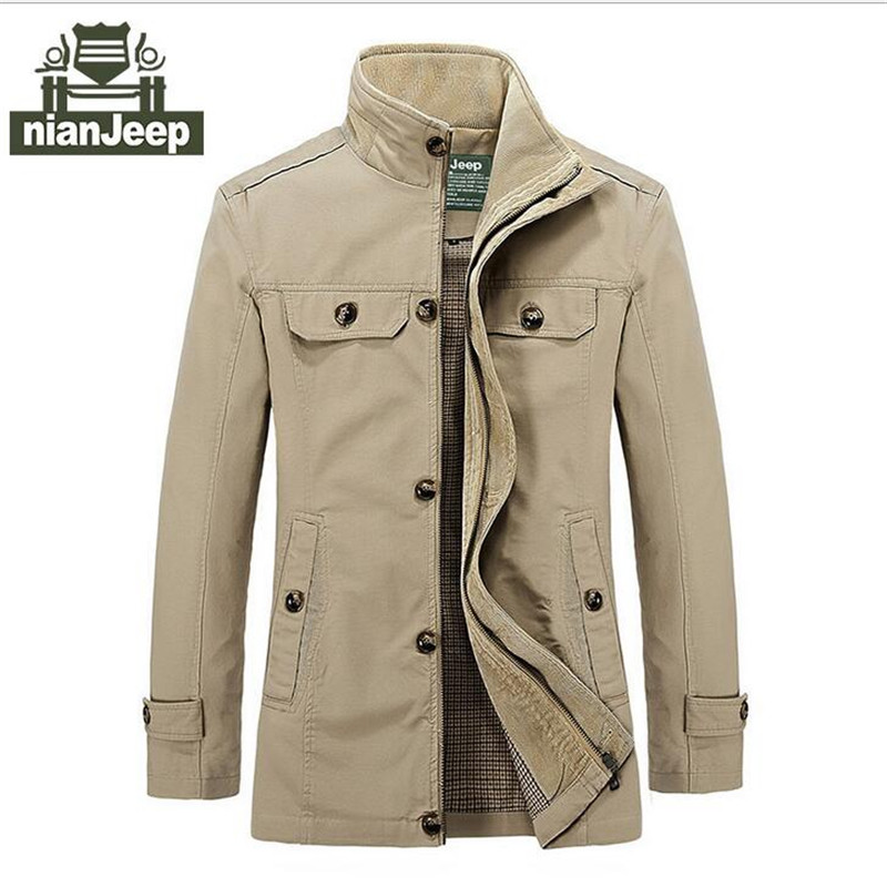 Nian AFS Jeep Autumn Single Breast Buttons Slim Jacket,Good Quality Real Mans Mandarin Collar Cargo Long Coat,Solid Color JacketОдежда и ак�е��уары<br><br><br>Aliexpress