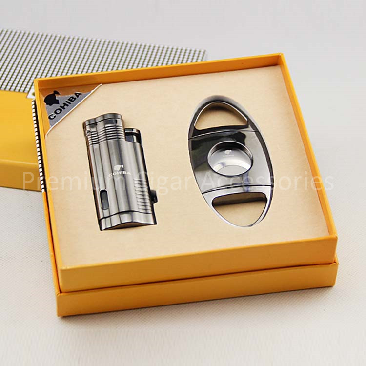 COHIBA New Design Windproof 3 Torch Jet Blue Flame Cigar Lighter with Cigar Punch & Cigar Cutter Gift Set(China (Mainland))