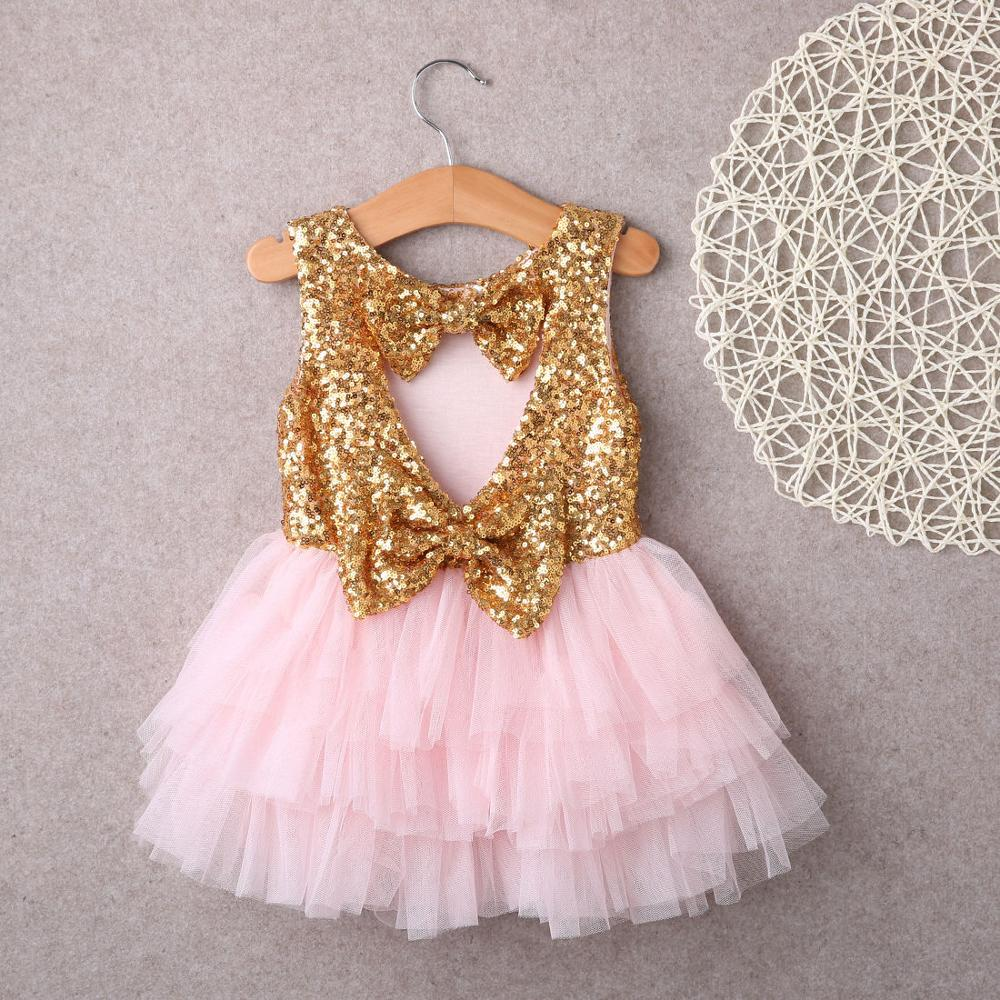 2016 Baby Children Girl Dresses Sequins Backless Bow Gold Lace Tulle Ruffled Party Mini Ball Gown Formal Dress Fashion Girl(China (Mainland))