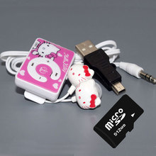 hello kitty mp3 music  clip mp3 players 5 color support tf card with earphone and mini usb 512MB Memory card(China (Mainland))