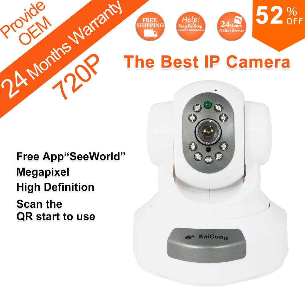 FREE SHIPPING 720P Mega pixel 1280*720 Pixels HD IP Camera WiFi Wireless TF Card Storage P2P H.264 Algorithm KaiCong Sip1303W(China (Mainland))