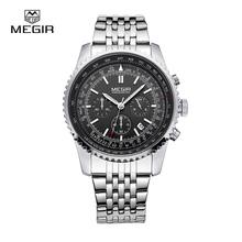 Megir moda para hombre de cuarzo reloj de hombre de lujo de negocios reloj impermeable 2008 del envío libre